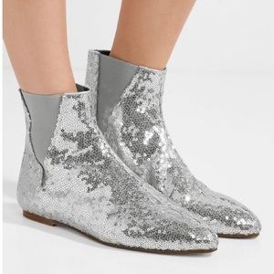 LOEWE Sequin Silver Flat Ankle Boot